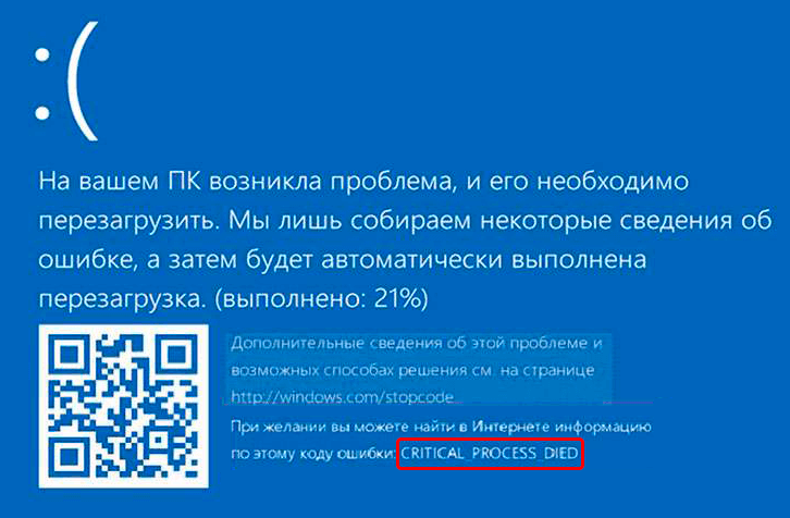 Ошибка CRITICAL PROCESS DIED в Windows 10